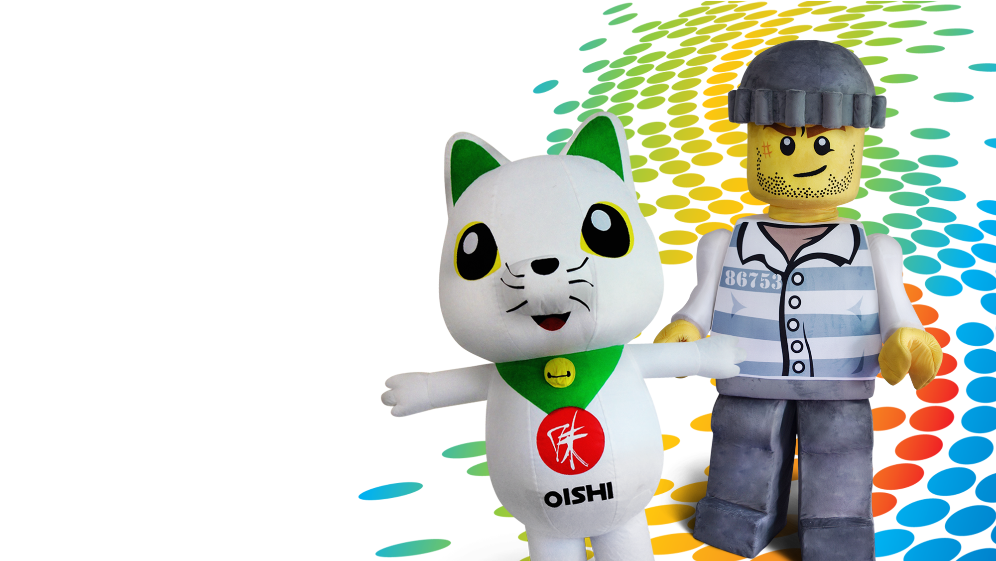 hola mascot custom made oishi lego