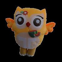 inflatable custom made mascot trip4asia yellow owl hola mascot 1