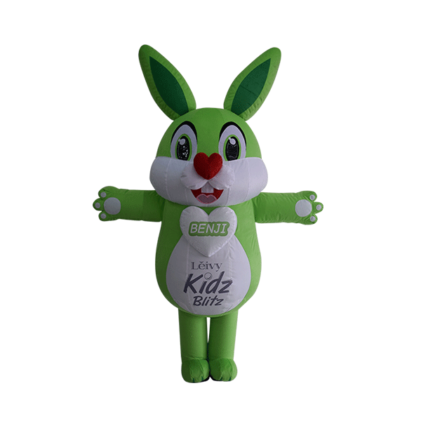 mascot leivy green rabbit custom made hola mascot 1