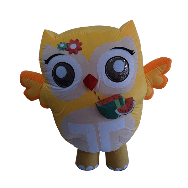 inflatable custom made mascot trip4asia yellow owl hola mascot 5