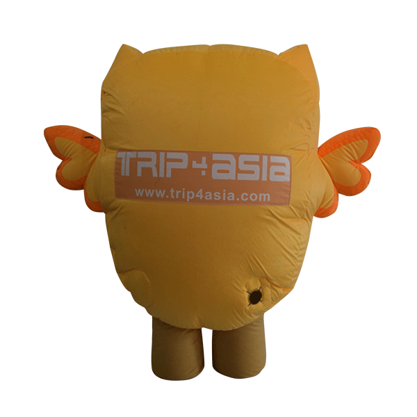 inflatable custom made mascot trip4asia yellow owl hola mascot 3