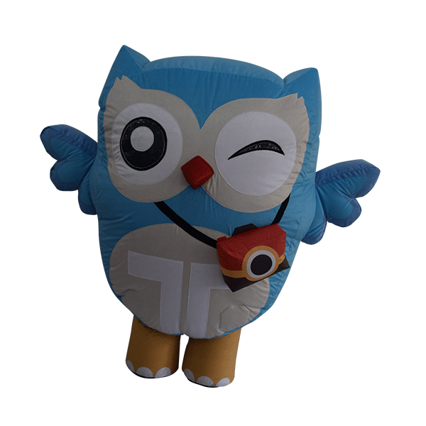 custom made mascot trip4asia blue owl hola mascot 5