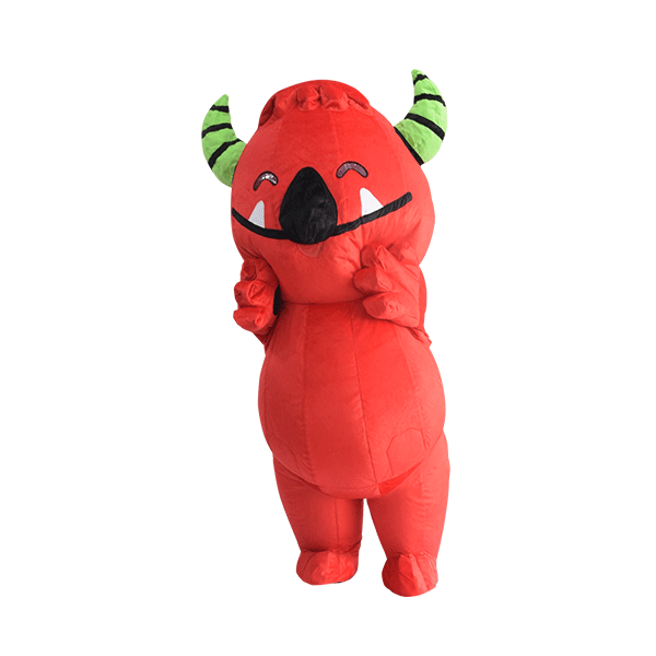 custom mascot malaysia buds red monster hola mascot front view